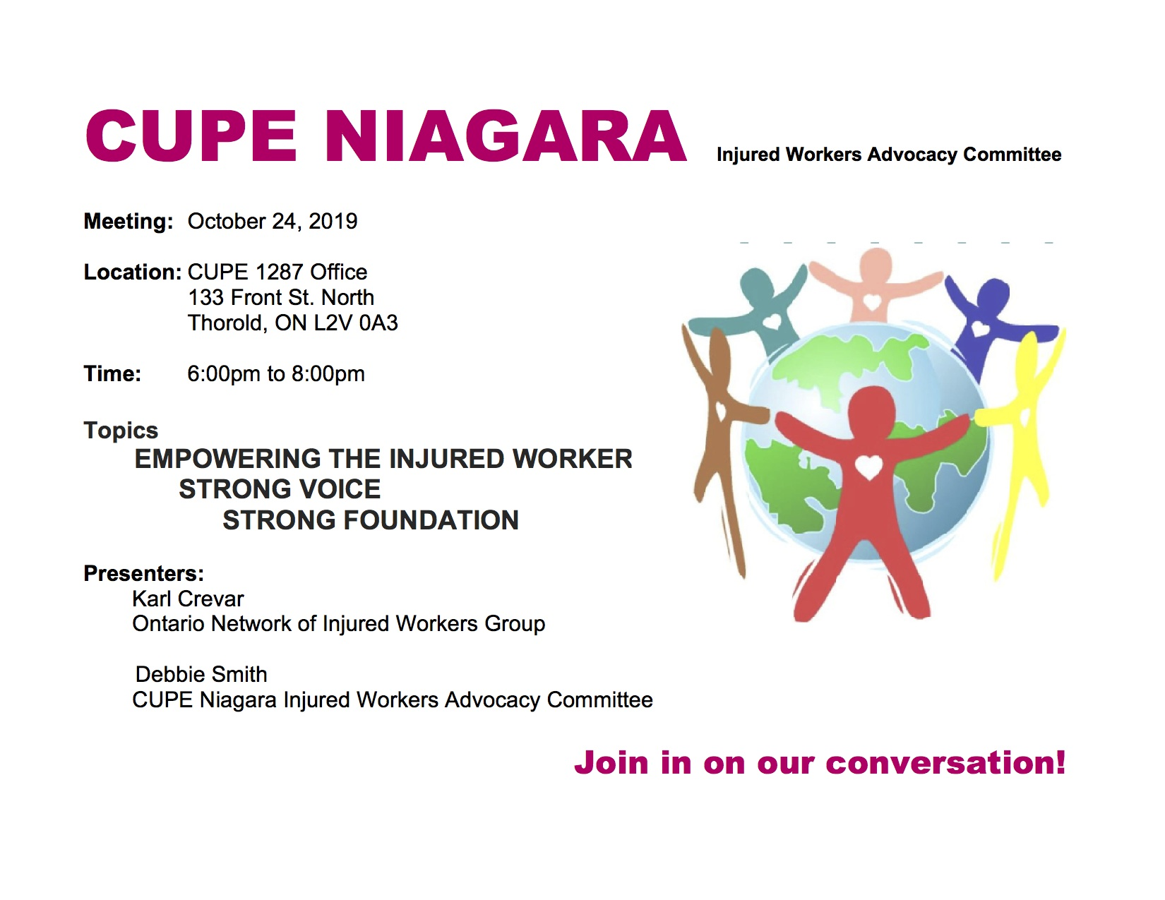 Empowering Injured Workers event @ CUPE 1287 Office